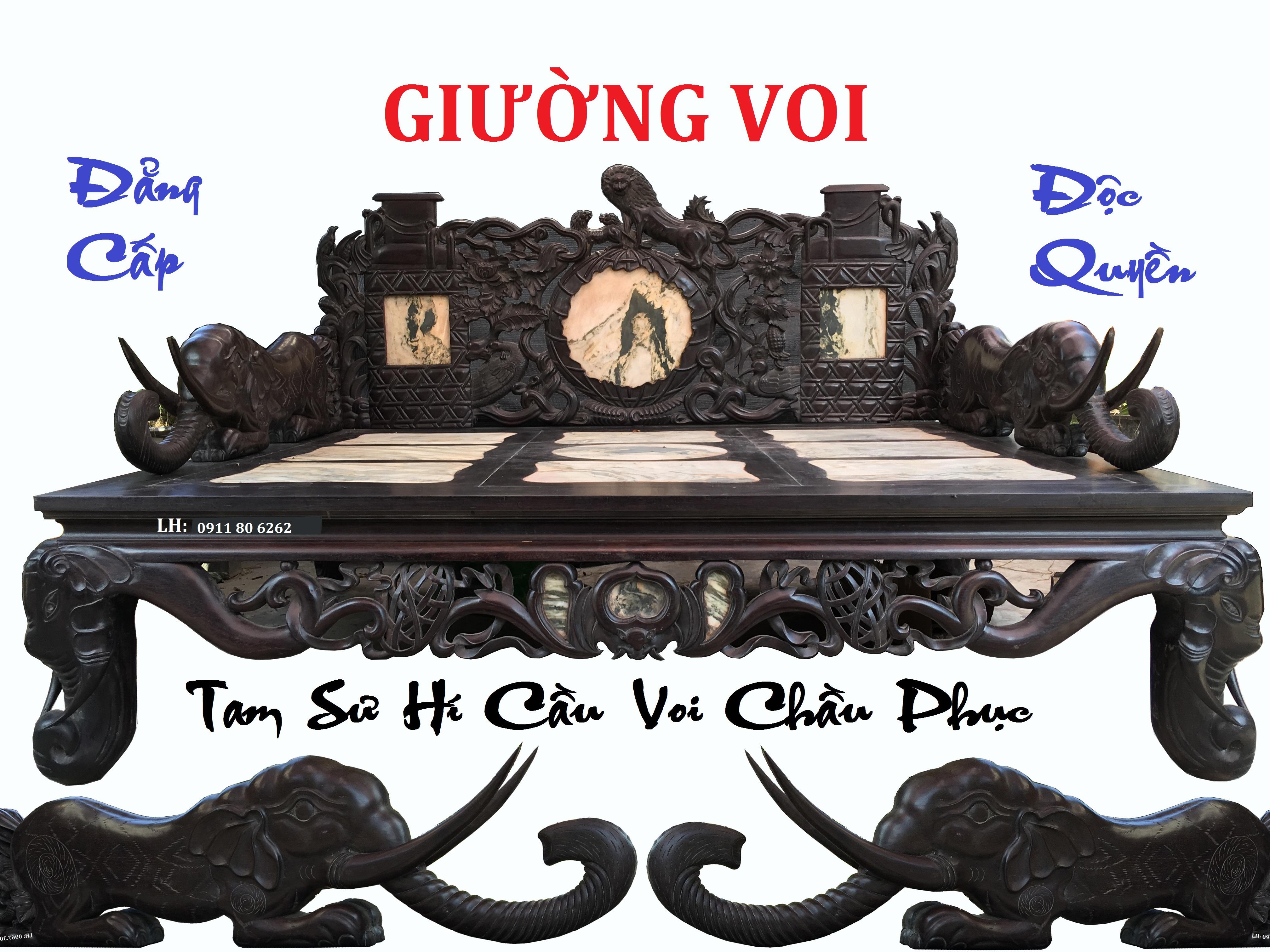 13 - Giường Voi Tam Sư Hí Cầu MS: 05
