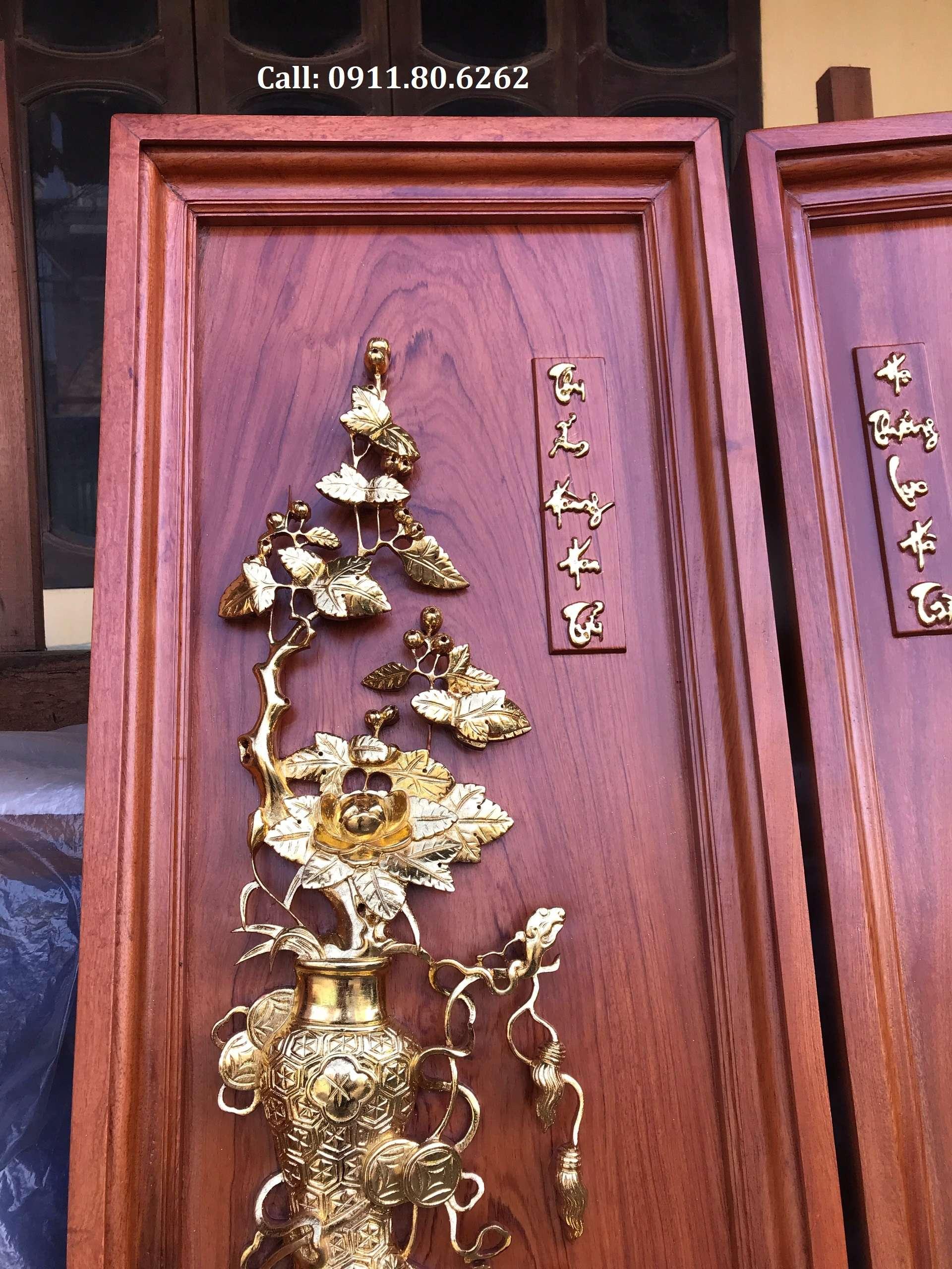 Tranh Tu Binh Son Son Thep Vang 1 - Tranh Tứ Bình Sơn Son Thiếp Vàng MS: 15