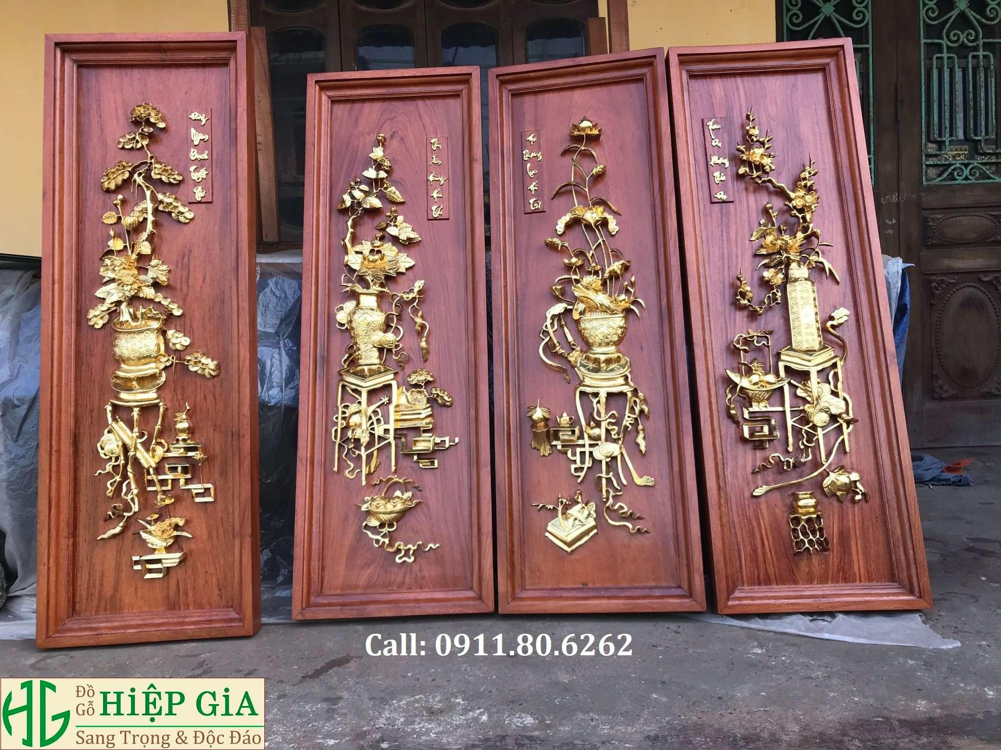 Tranh Tu Binh Son Son Thep Vang 11 - Tranh Tứ Bình Sơn Son Thiếp Vàng MS: 15