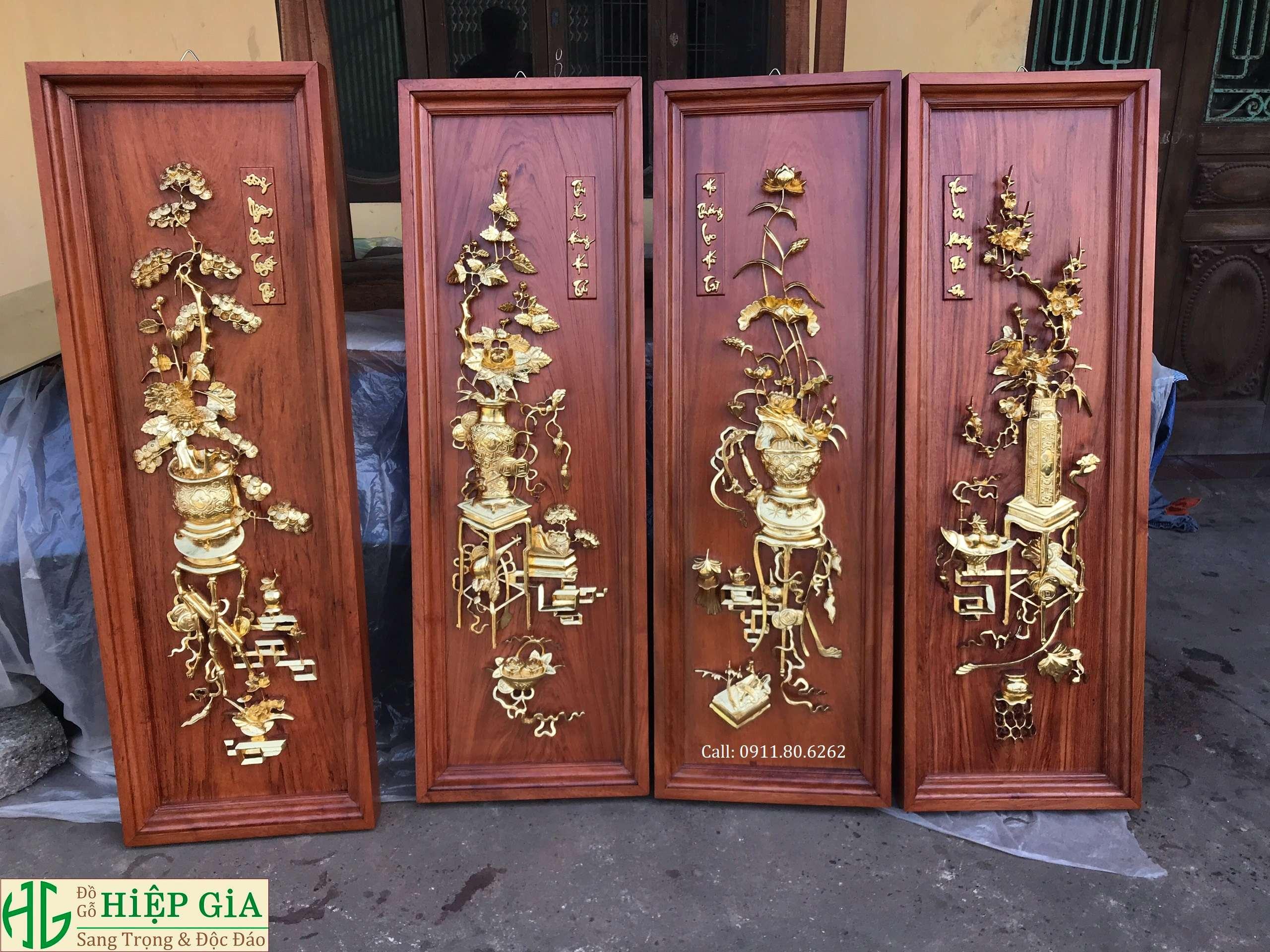 Tranh Tu Binh Son Son Thep Vang 15 - Tranh Tứ Bình Sơn Son Thiếp Vàng MS: 15