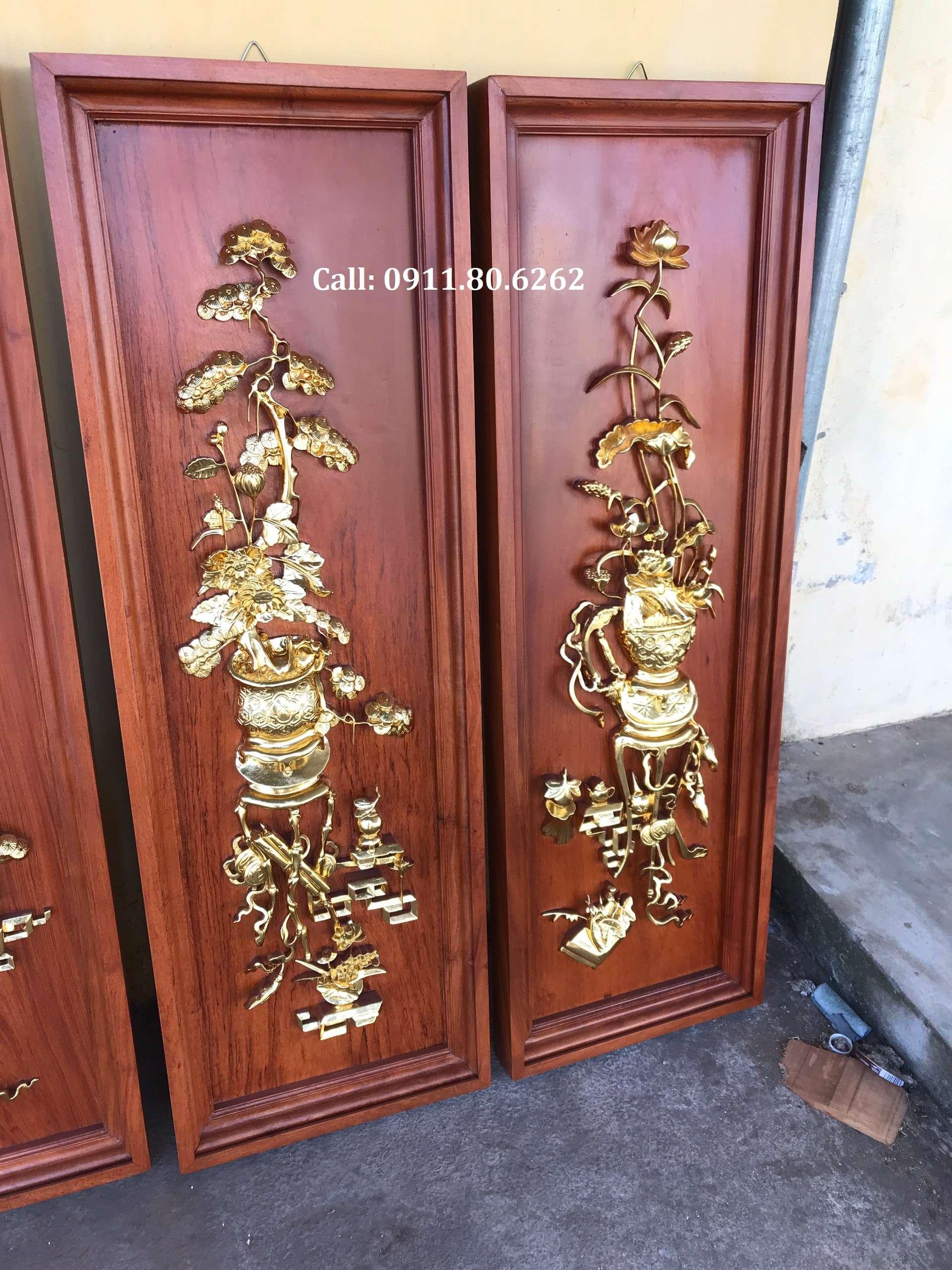 Tranh Tu Binh Son Son Thep Vang 5 - Tranh Tứ Bình Sơn Son Thiếp Vàng MS: 15