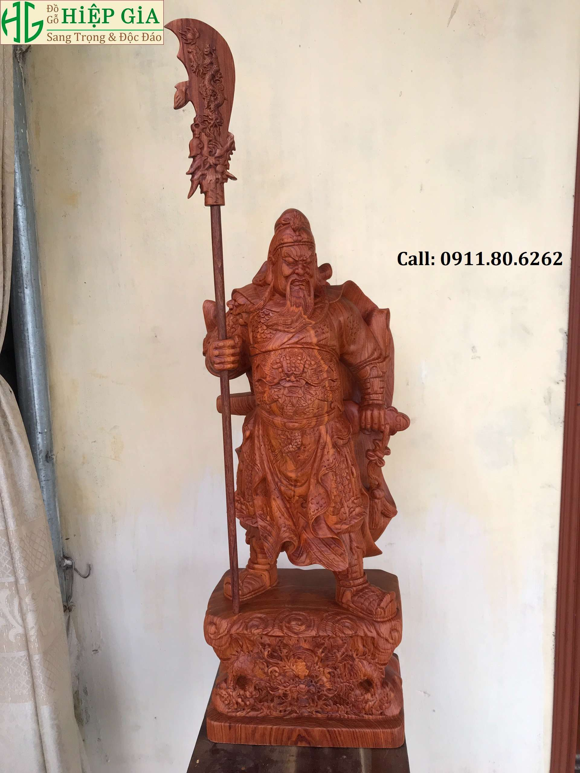 Tuong Go Quan Cong 7 - Tượng Gỗ Quan Công MS: 02